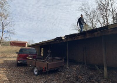 LSUHS students working on the barn